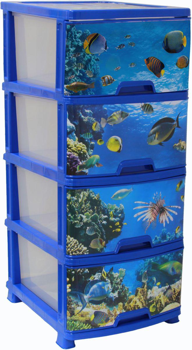Комод Idea Классик Деко. Океан, 37,5 х 48 х 47,5 см, 4 секции. М 2803 ковш idea деко розы 1 5 л