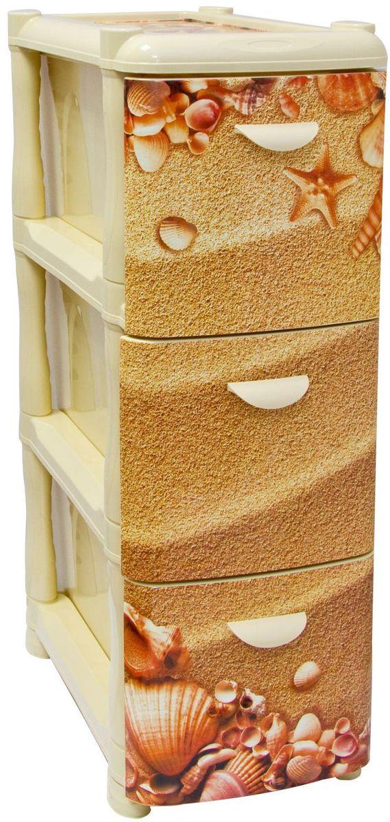 """Комод Idea """"Альт Деко"""" изготовлен из высококачественного пластика. Ящики стилизованы под пляжный песок с ракушками. Комод  предназначен для хранения различных вещей и состоит из 3 вместительных выдвижных секций.  Такой необычный комод надежно защитит вещи от загрязнений, пыли и моли, а также позволит вам хранить их компактно и с удобством. Размер комода: 26,2 х 50,2 х 74 см."""