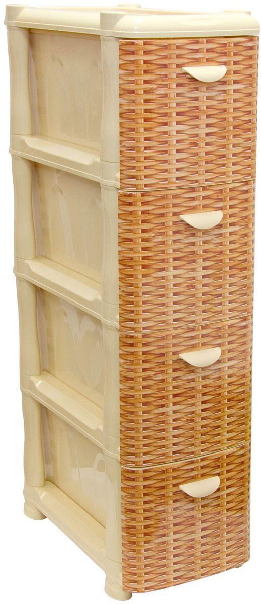 Комод Idea Альт Деко, цвет: ротанг, 26,2 х 50,2 х 74 см, 4 секцииМ 2808Комод Idea Альт Деко изготовлен из высококачественного пластика. Ящики оформлены изображением плетеных элементов. Комод предназначен для хранения различных вещей и состоит из 4 вместительных выдвижных секций. Такой необычный и яркий комод надежно защитит вещи от загрязнений, пыли и моли, а также позволит вам хранить их компактно и с удобством.Размер комода: 26,2 х 50,2 х 74 см.