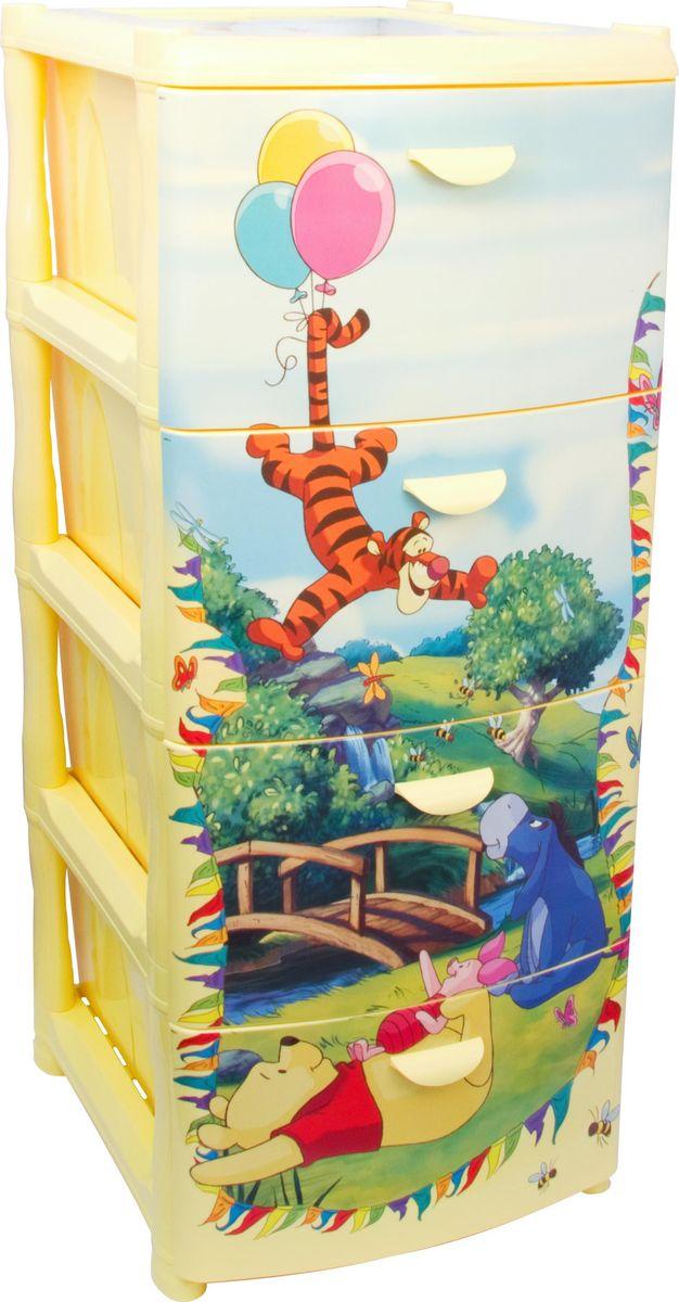 Комод Disney, цвет: банановый, 4 секции. М 2805-ДМ 2805-ДКомод Disney - вместительный, современный и удобный комод с любимыми героями, который идеально подойдет для детской комнаты. Сглаженные углы и облегченная конструкция комода безопасны даже для самых активных детей. Яркие и сочные цвета идеально впишутся в интерьер детской комнаты.Высота в сборе: 96 см.Высота каждого ящика: 23 см.Размеры собранного комода: 40,5 x 50,5 x 96 см.
