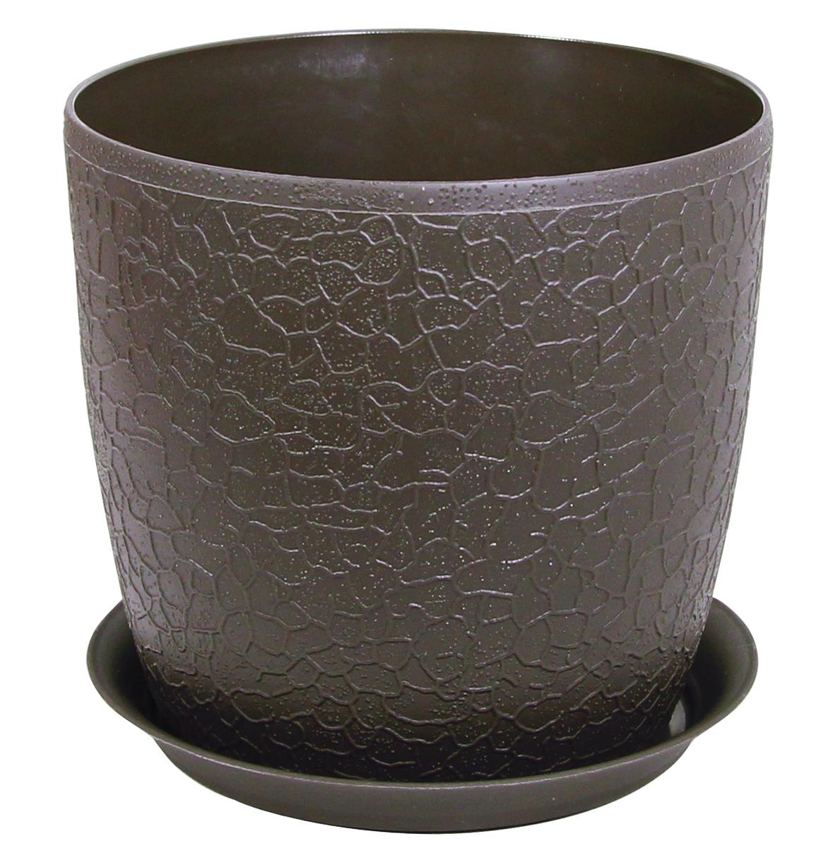 Кашпо Idea Верона, с подставкой, цвет: коричневый, диаметр 18 смМ 3097Кашпо Idea Верона изготовлено из полипропилена (пластика). Специальная подставка предназначена для стока воды. Изделие прекрасно подходит для выращивания растений и цветов в домашних условиях.Диаметр кашпо: 18 см.Высота кашпо: 16,1 см.