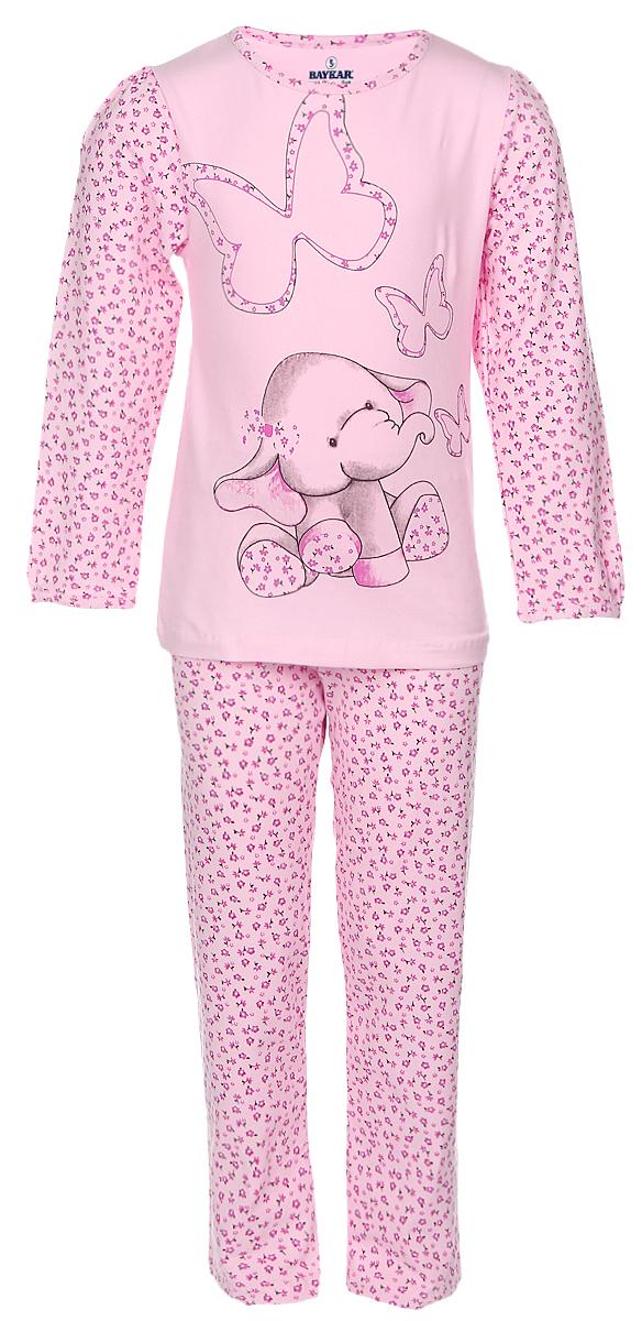 Пижама для девочки Baykar, цвет: розовый, малиновый. N9021159B-22-10. Размер 104/110N9021159B-22-10Пижама для девочки Baykar, состоящая из лонгслива и брюк, изготовлена из натурального хлопка с добавлением эластана. Лонгслив с длинными рукавами и круглым вырезом горловины оформлен цветочным принтом и изображением слоника.Брюки на талии имеют эластичную резинку и оформлены цветочным принтом.