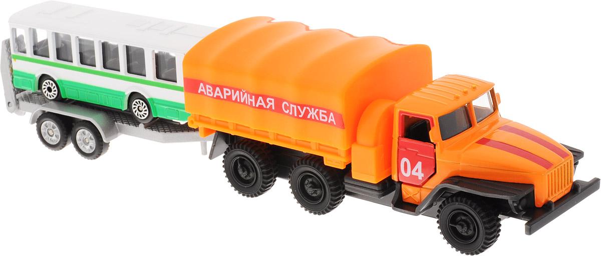 ТехноПарк Набор машинок Урал с автобусом машины технопарк набор полиция урал с лодкой на прицепе sb 16 34 p wb