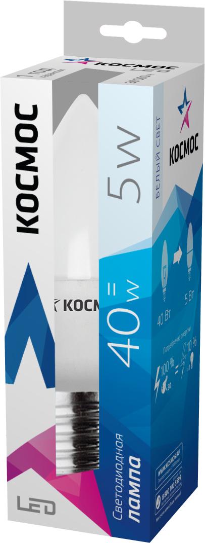 Светодиодная лампа Kosmos, белый свет, цоколь E27, 5W, 220VLksm_LED5wCNE2745Инновационная светодиодная модель пониженного энергопотребления КОСМОС LED CN 5Вт 220В E27 4500K (Lksm LED5wCNE2745). Энергоэффективность класса А. Характеризуется сниженной производительностью тепла и отсутствием задержки розжига. Эксплуатационный срок определился в 30000 часов. Температура цвета составляет 4500 К. Может заменять ЛОН на 40 Ватт.