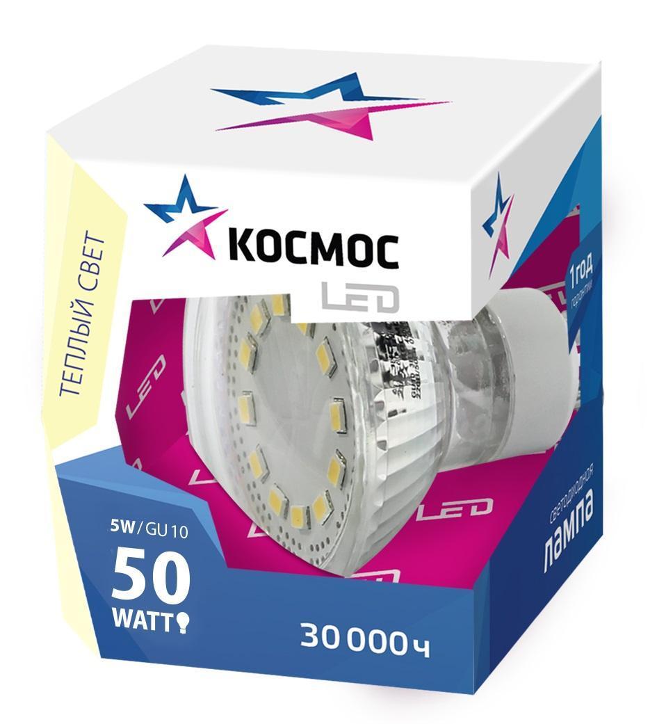 Светодиодная лампа Kosmos, теплый свет, цоколь GU10, 5W, 220VLksm_LED5wGU10C30Прекрасным заменителем 60-Ваттной лампы накаливания является продукт КОСМОС LED GU10 5Вт 220В 3000K (Lksm LED5wGU10C30). Имеет сниженную теплопроизводительность. Срок эксплуатации - до 30000 часов. Рекомендуется для установки в открытых светильниках, бра, при акцентном освещении. Обладает мягким рассеивающим светом и GU10 патроном.Уважаемые клиенты! Обращаем ваше внимание на возможные изменения в дизайне упаковки. Качественные характеристики товара остаются неизменными. Поставка осуществляется в зависимости от наличия на складе.