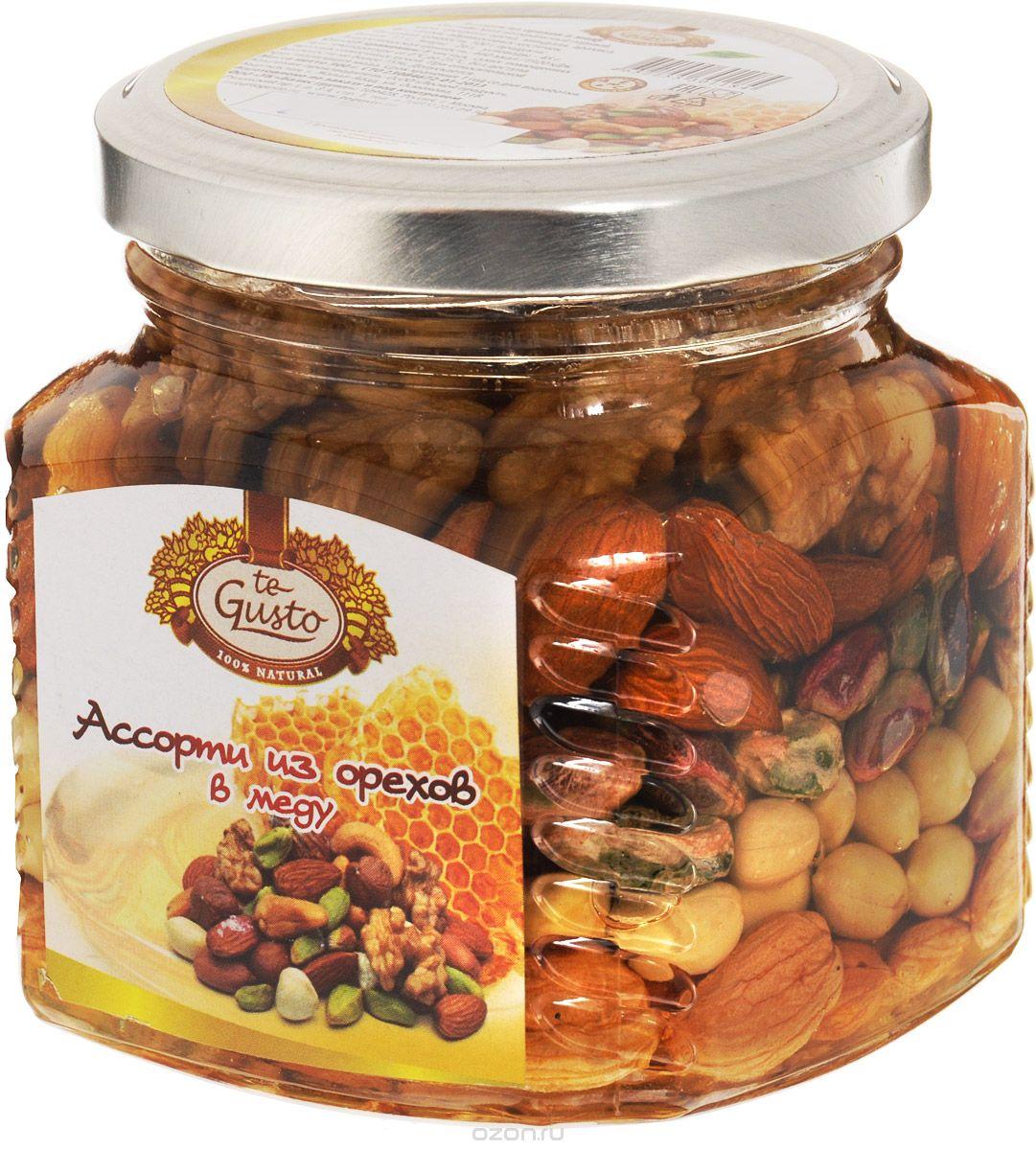 te Gusto Ассорти из орехов в меду, 300 г te gusto грецкие орехи в меду 300 г