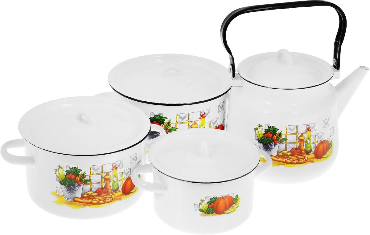 Набор посуды СтальЭмаль Дачная, 7 предметов1с142/1Набор посуды СтальЭмаль Дачная состоит из 3 кастрюль разного объема, 3 крышек и чайника. Изделия выполнены из качественной эмалированной стали. Эмаль защищает сталь от коррозии, придает посуде гладкую поверхность и надежно защищает от кислот и щелочей. Эмаль устойчива к пищевым кислотам, не вступает во взаимодействие с продуктами и не искажает их вкусовые качества. Прочный стальной корпус обеспечивает эффективную тепловую обработку пищевых продуктов и не деформируется в процессе эксплуатации. Внешняя поверхность изделий оформлена красочным изображением. Кастрюли и чайник снабжены стальными крышками. Чайник имеет прочную подвижную ручку. Посуда подходит для газовых, электрических, стеклокерамических, индукционных плит, а также для духовки. Можно мыть в посудомоечной машине. Объем кастрюль: 1,5 л; 2,9 л; 3,9 л. Диаметр кастрюль (по верхнему краю): 16 см; 19 см; 21 см. Ширина кастрюль (с учетом ручек): 21 см; 25 см; 28 см. Высота стенки кастрюль: 10 см; 12 см; 13 см. Объем чайника: 3,5 л. Высота чайника (без учета крышки и ручки): 17 см. Диаметр чайника (по верхнему краю): 15 см.