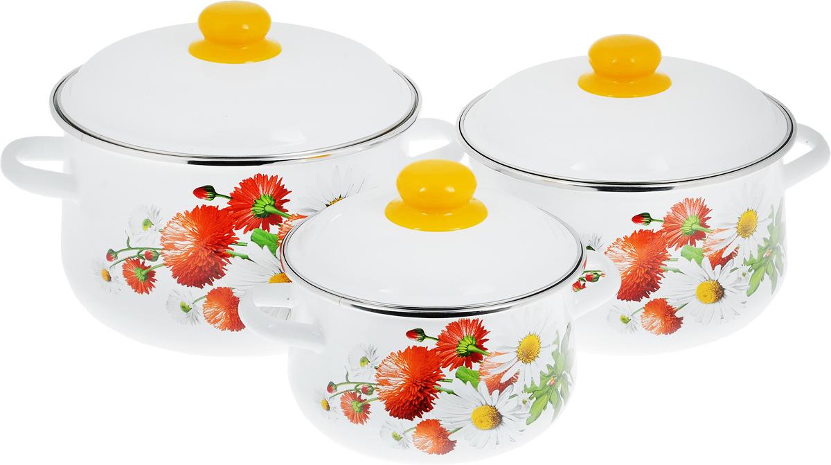 Набор кастрюль СтальЭмаль  Маргаритки  с крышками, 6 предметов - Посуда для приготовления