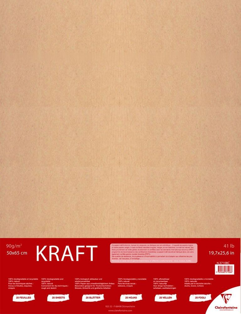 Бумага Clairefontaine Kraft, 50 х 65 см, 25 листов37108СБумага Clairefontaine  выполнена из целлюлозы. Рисование на такой бумаге доставит максимальное удовольствие художникам любого возраста.Плотность: 90 г/м2.