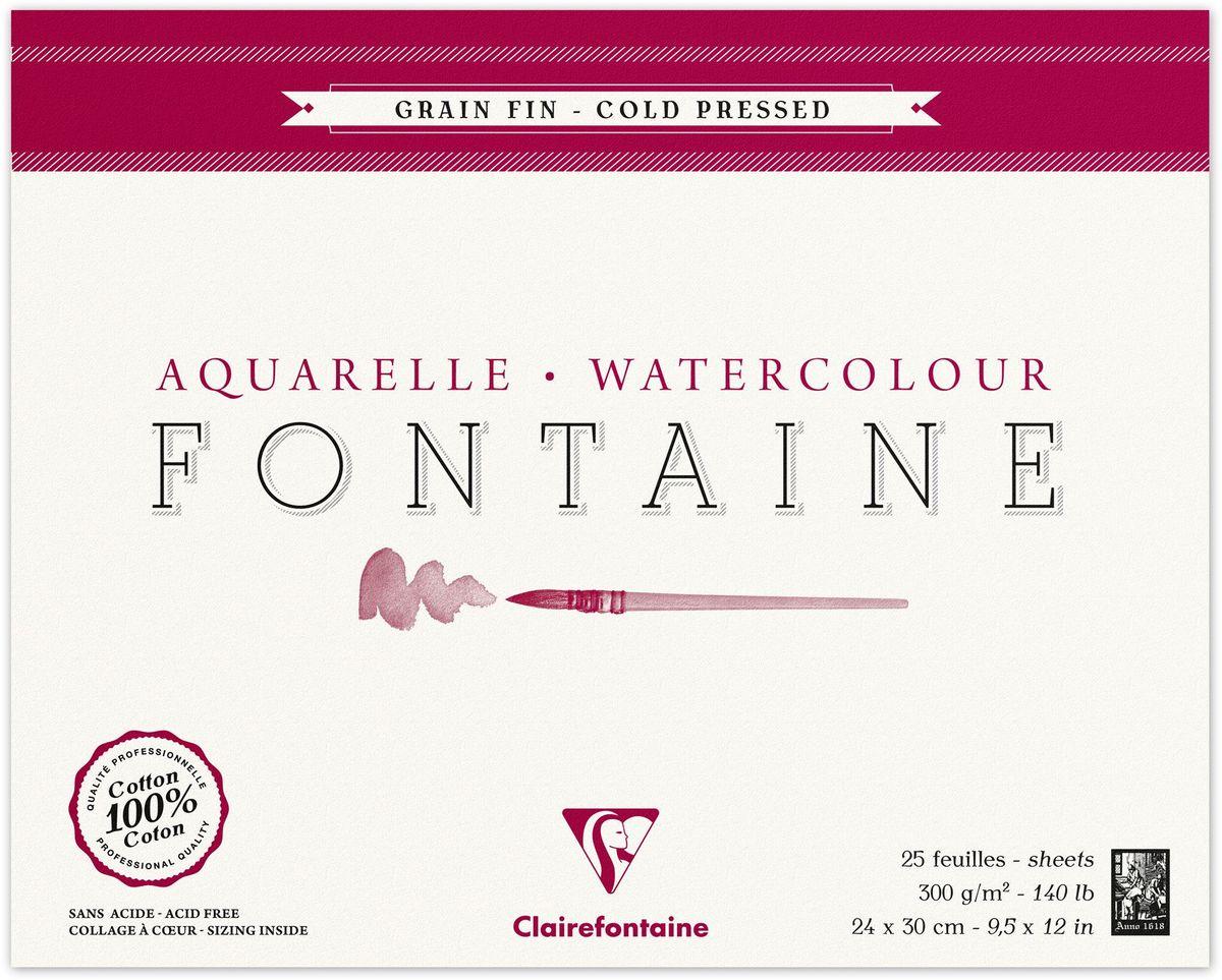 Альбом Clairefontaine Fontaine, 24 х 30 см, 25 листов. 96414С96414САльбом-склейка Clairefontaine Fontaine предназначен для работы акварелью. Бумага, выполненная из 100% хлопка методом горячего пресса, имеет профессиональное качество и естественную белизну без использования отбеливателя. Поверхность бумаги зернистая.Твердая подложка позволяет использовать альбом вне класса или дома.Рисование в таких альбомах доставит максимальное удовольствие художникам любого возраста.Плотность: 300 г/м2.