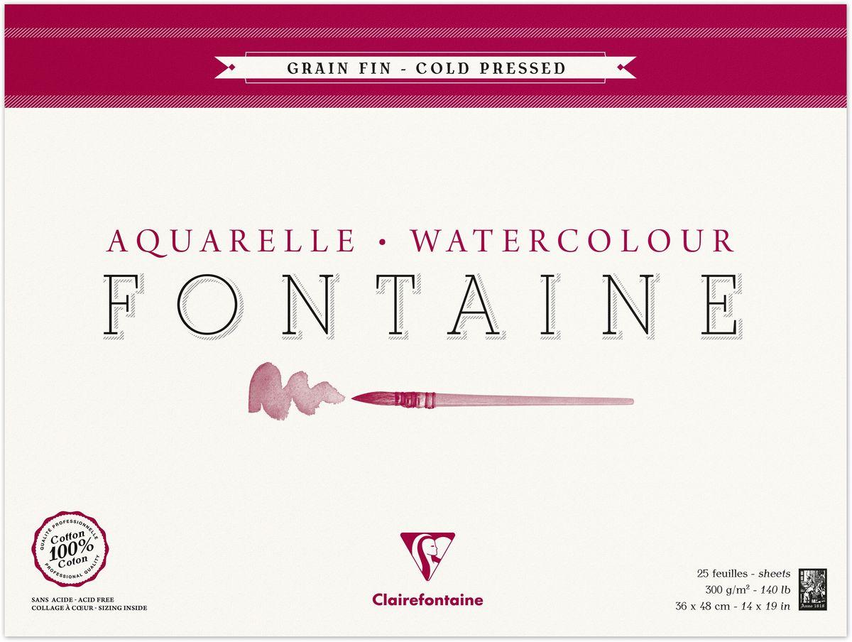 Альбом Clairefontaine Fontaine, 36 х 48 см, 25 листов. 96416С96416САльбом-склейка Clairefontaine Fontaine предназначен для работы акварелью. Бумага, выполненная из 100% хлопка методом холодного пресса, имеет профессиональное качество и естественную белизну без использования отбеливателя. Поверхность бумаги зернистая.Твердая подложка позволяет использовать альбом вне класса или дома.Рисование в таких альбомах доставит максимальное удовольствие художникам любого возраста.Плотность: 300 г/м2.