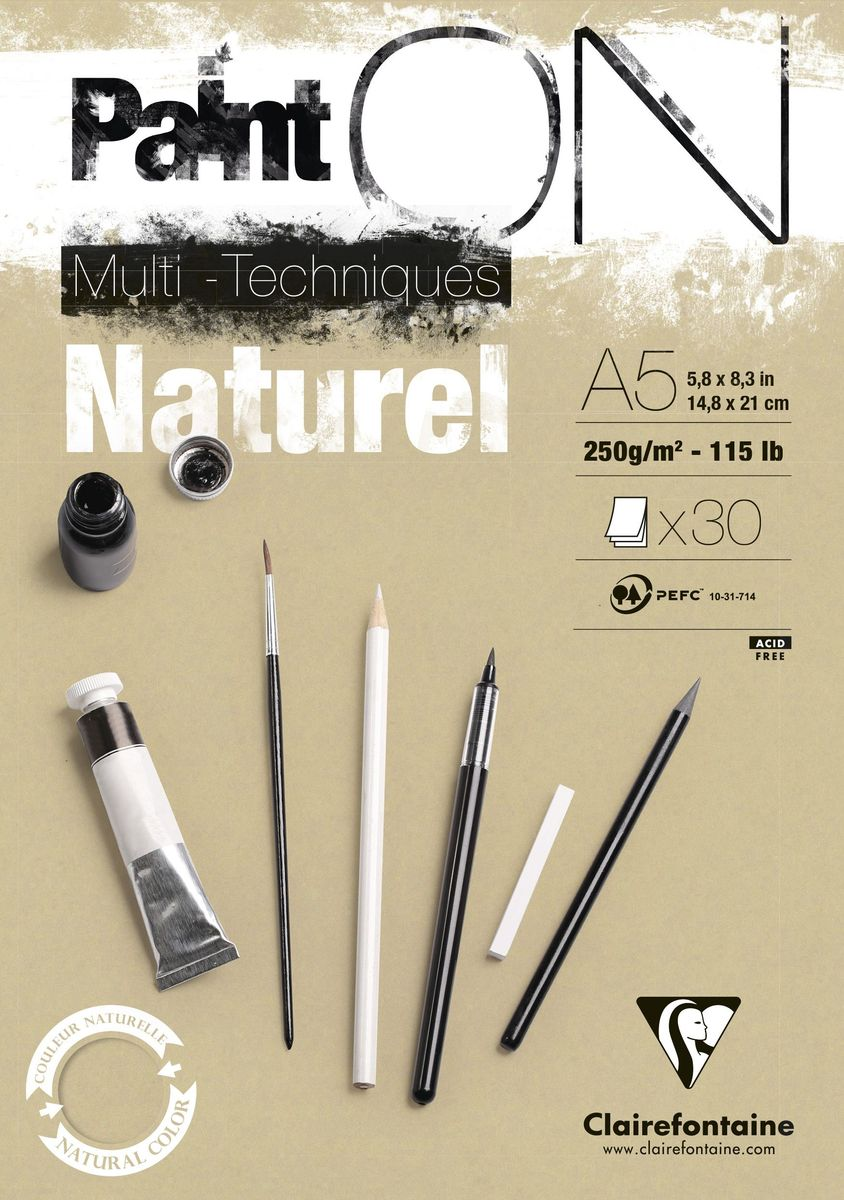 Альбом Clairefontaine  Paint On , для смешанных техник, формат A5, 40 листов. 96539С -  Бумага и картон
