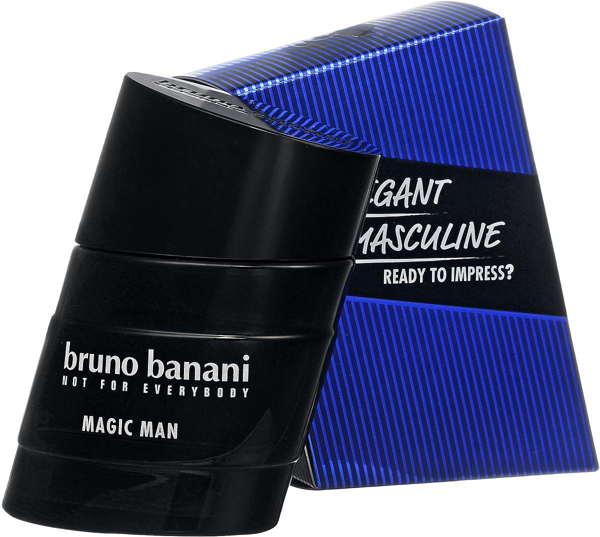 Bruno Banani Magic Man Туалетная вода 30 мл (новая упаковка)0730870138649Magic Man – новый мужской аромат от популярного немецкого дома моды Bruno Banani, известного своей экологически чистой продукцией. Аромат создан в 2008 году. Относится к группе ароматов древесные пряные. Аромат Magic Man Bruno Banani – это волшебное зелье, некая невидимая магическая материя, окутывающая кожу и притягивающая женские сердца своим природным запахом. Композиция аромата начинается нотами специй, джина и кардамона из Гватемалы, плавно растворяясь в нотах сердца: цикламене, какао и бархотке. К концу дня вы ощутите на своей коже устойчивый шлейф из нот пачули и амбры.Верхняя нота: Джин.Средняя нота: Бархатцы, Цикламен, Какао.Шлейф: Амбра, Пачули.Теплое древесное сердце аромата, яркий аккорд джина и неповторимый ладан.Дневной и вечерний аромат.