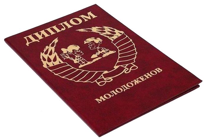 Диплом сувенирный Эврика Молодоженов, A6, цвет: красный. 93739