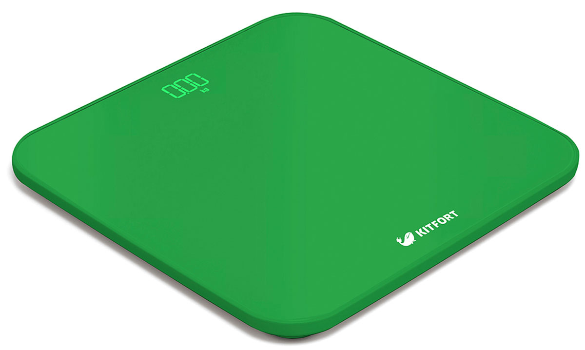 Kitfort КТ-802-3, Green весы напольныеКТ-802-3Электронные напольные весы Kitfort КТ-802 обеспечат высокую точность измерения и станут неизменным спутником для людей, следящих за своим весом. Весы оснащены большим LED дисплеем с крупными цифрами, что делает их использование максимально удобным. Платформа выполнена из высокопрочного полированного стекла, а прорезиненные ножки обеспечивают весам дополнительную устойчивость и предотвращают их скольжение по полу, что гарантирует безопасность во время взвешивания.Включение и выключение весов Kitfort КТ-802 происходит автоматически. При взвешивании показания весов фиксируются для вашего удобства. При каждом включении весы самостоятельно калибруются и тарируются для обеспечения большей точности показаний. Для электропитания используются 4 батарейки типа ААА.Весы имеют яркий привлекательный дизайн, благодаря чему украсят собой любой интерьер.