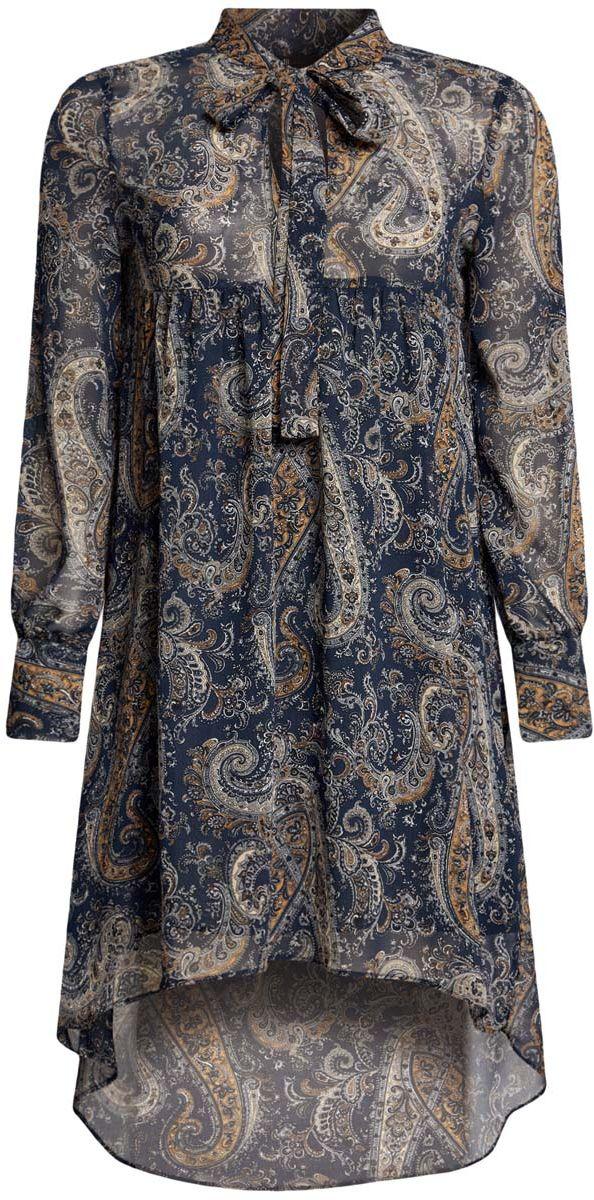 Платье oodji Ultra, цвет: темно-синий, бежевый. 11913032/38375/7933E. Размер 34-170 (40-170)11913032/38375/7933EПлатье oodji Ultra исполнено из воздушной, легкой ткани. Имеет свободный крой и V-образный вырез воротника, оформленный завязками под горлом. Платье выполнено с длинными рукавами-баллонами, застегивающимися на манжетах на пуговицы и ассиметричной юбкой, удлиненной сзади шлейфом.
