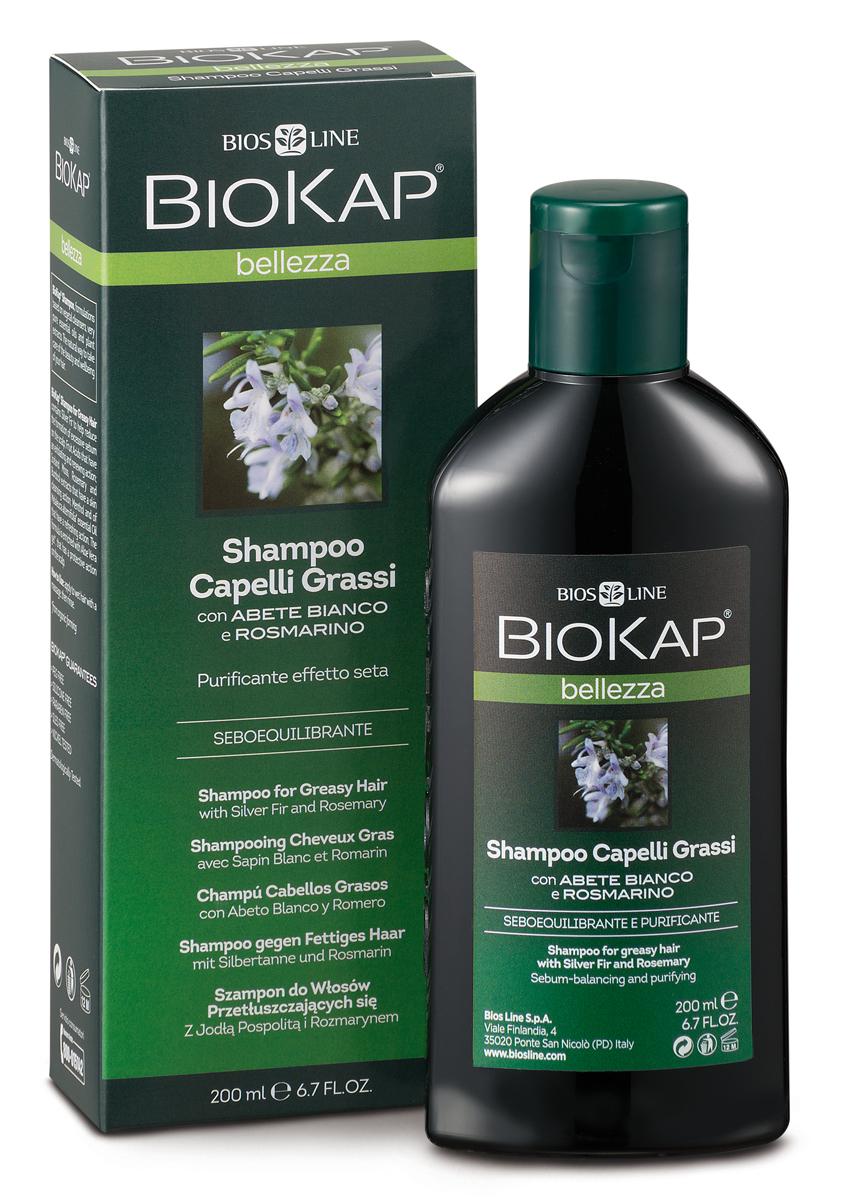 BioKap Шампунь для жирных волос, 200 млBL 21Предназначен для ухода за жирными волосами. Специальная формула позволяет ежедневное использование. Питает, увлажняет, защищает волосы и кожу головы, не нарушая естественный липидный баланс. Волосы безукоризненной чистоты, послушные, сильные, крепкие, мягкие и сияющие, без жирного блеска и слипшихся прядей.