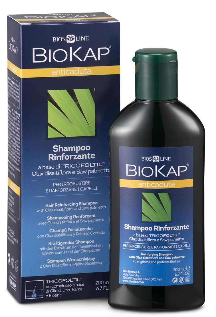 BioKap Шампунь от выпадения волос, 200 млBL 31Новая, специальная формула, эффективно укрепляющая волосы. Экстракты трав обладают иммуностимулирующим активностью, способствует росту здоровых, красивых волос, заметно уменьшая выпадение. Сочетание витаминов придает жизненную силу и энергию клеткам волос и кожи головы. Шампунь сохраняет естественный гидролипидный баланс.