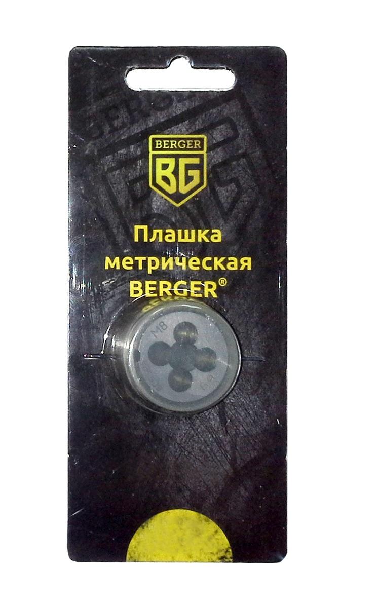 Плашка метрическая Berger, М5 х 0,8 мм. BG1003BG1003Метрическая плашка Berger позволяет вручную нарезать резьбу на детали. Изготовлена из инструментальной легированной стали 9ХС (средняя твердость 61 HRC), обладает повышенной износостойкостью, упругостью, сопротивлением к изгибу и кручению, стойкостью к контактным нагрузкам. Для удобства в работе зажимается в плашкодержателе. Диаметр резьбы равен 0,8 мм.
