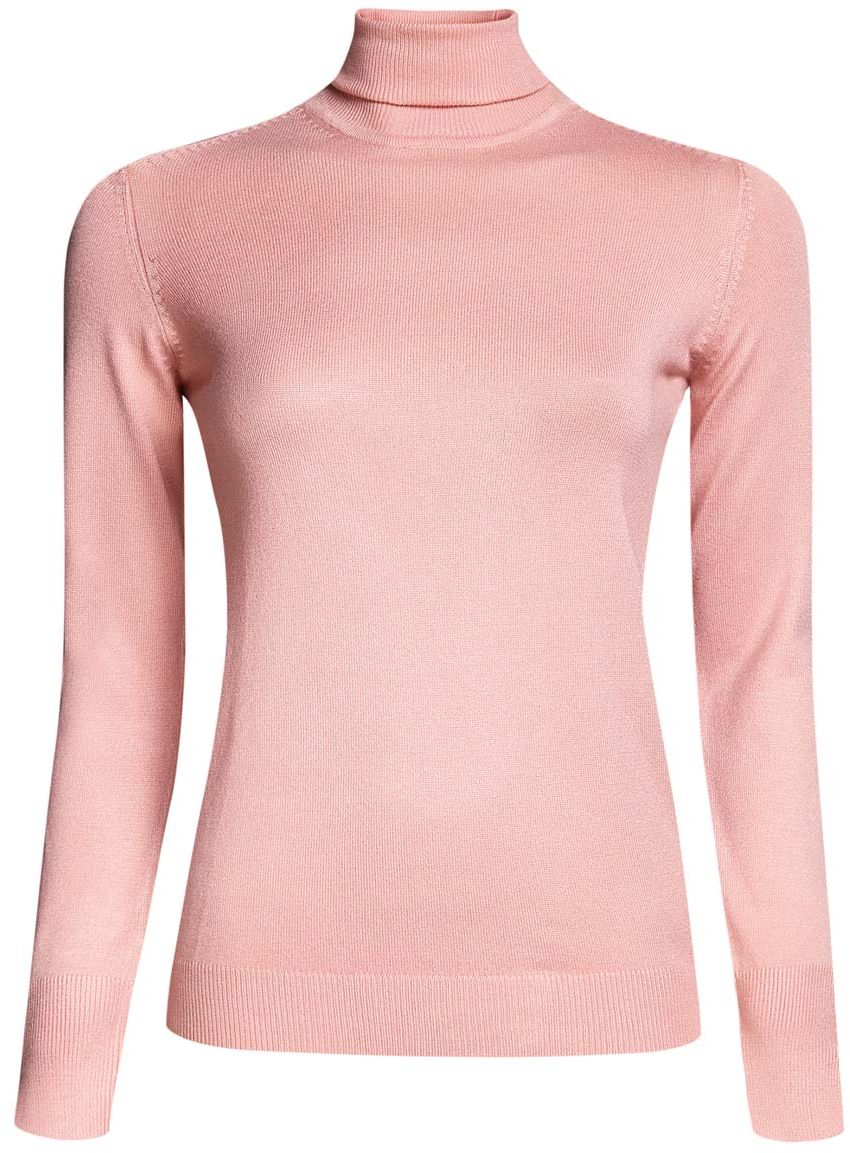 Водолазка женская oodji Collection, цвет: светло-розовый. 74412572B/24525/4000N. Размер XS (42)