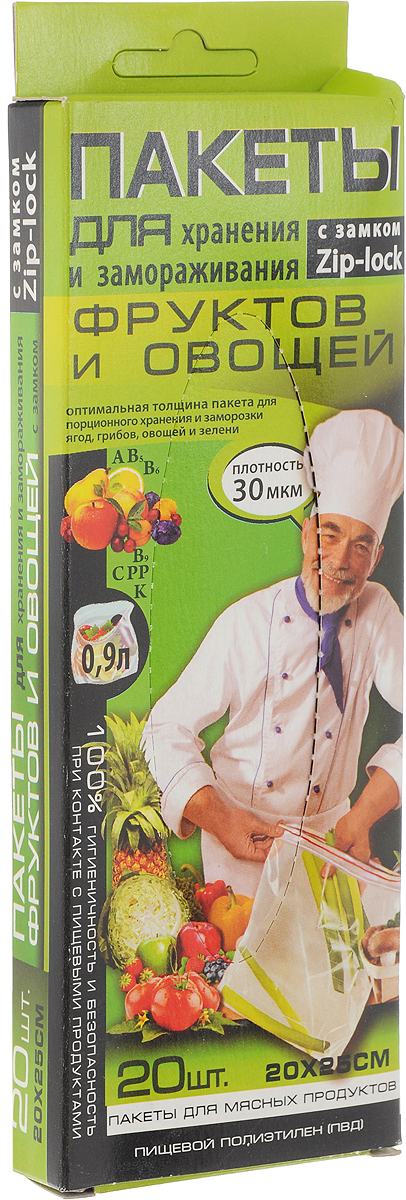 Пакет для хранения и замораживания фруктов, овощей Kwestor, 20 х 25 см, 20 шт625-007Пакеты для хранения и замораживания фруктов, овощей и зелени Kwestor изготовлены из инновационного трехслойного полиэтилена с усиленным средним слоем, поэтому они не теряют своей прочности даже при сверхнизких температурах (до - 40°С), включая режим шоковой заморозки. Продукты не прилипают к полиэтилену в процессе замораживания, не покрываются инеем, не теряют влаги, сохраняют все витамины и минералы.Пакеты имеют удобный замок-слайдер, благодаря которому пакет мгновенно герметично закрывается.Пакет Kwestor - идеальное решение для хранения и замораживания фруктов, овощей и зелени. Максимальный объем: 0,9 литра.Размер пакета: 20 х 25 см.