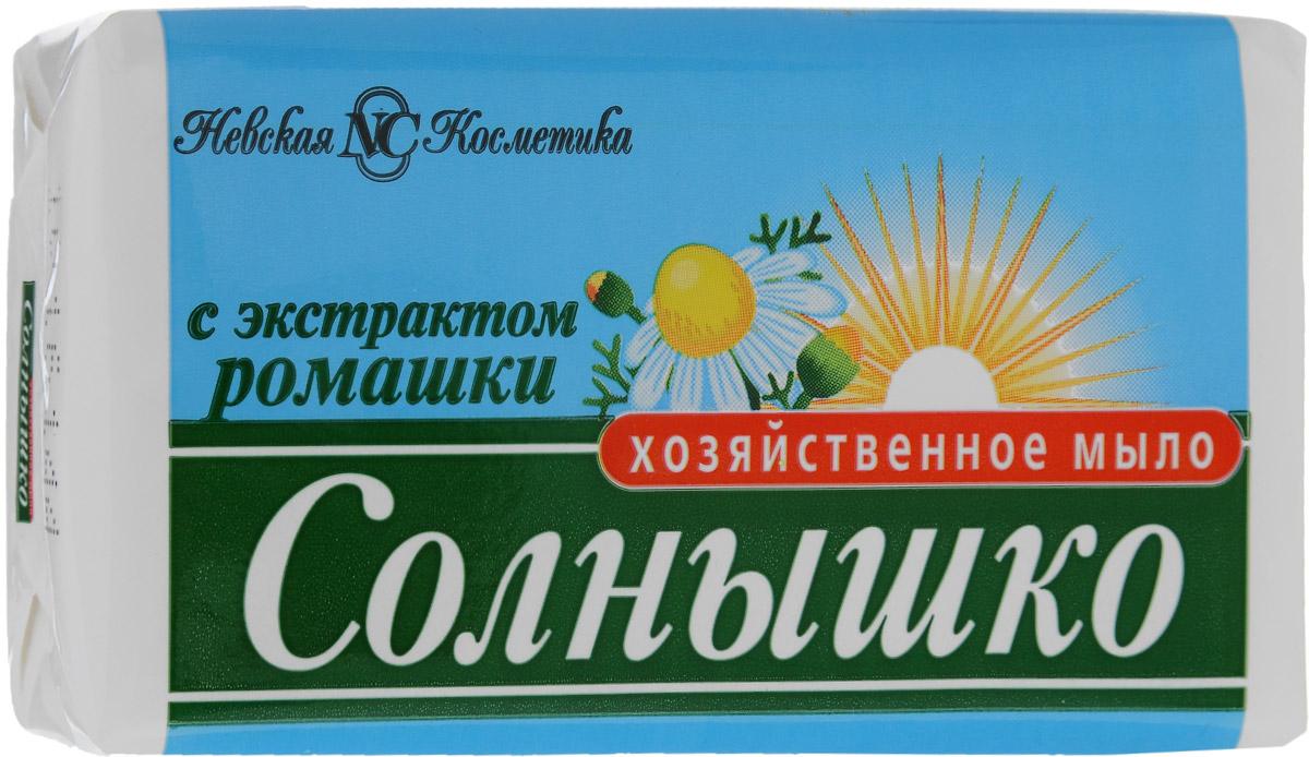 Мыло хозяйственное Солнышко, с экстрактом ромашки, 140 г губка для мытья посуды чисто солнышко 10 шт