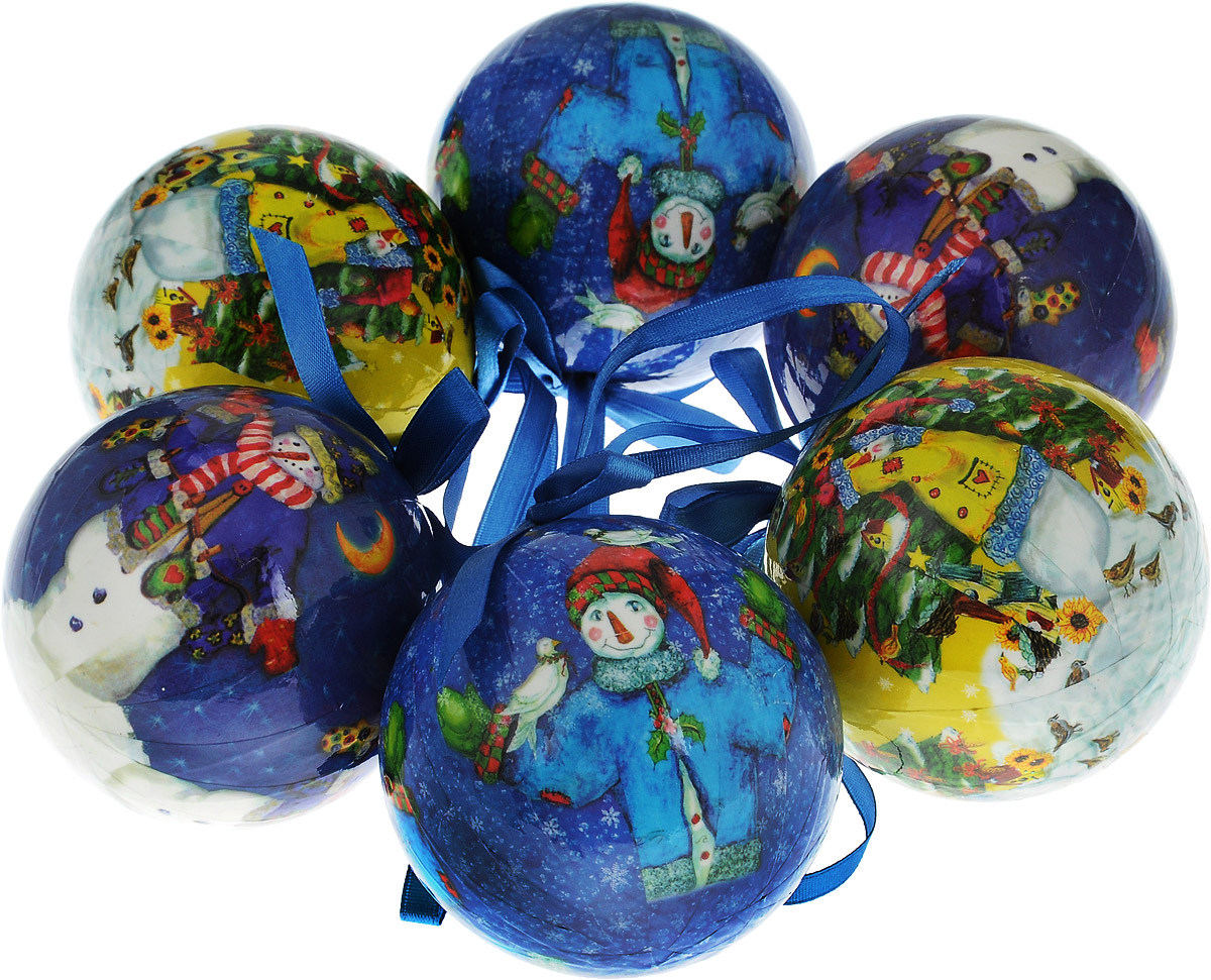 Набор новогодних подвесных украшений Winter Wings Шар. Снеговики, диаметр 7,5 см, 6 шт. N069488N069488_желтый, синийНабор подвесных украшений Winter Wings Шар. Снеговики прекрасно подойдет для праздничного декора новогодней ели. Набор состоит из 6 шаров, выполненных из прессованного картона и украшенных яркими новогодними рисунками. Для удобного размещения на елке для каждого украшения предусмотрен атласный бантик с петелькой.Елочная игрушка - символ Нового года. Она несет в себе волшебство и красоту праздника. Создайте в своем доме атмосферу веселья и радости, украшая новогоднюю елку нарядными игрушками, которые будут из года в год накапливать теплоту воспоминаний.