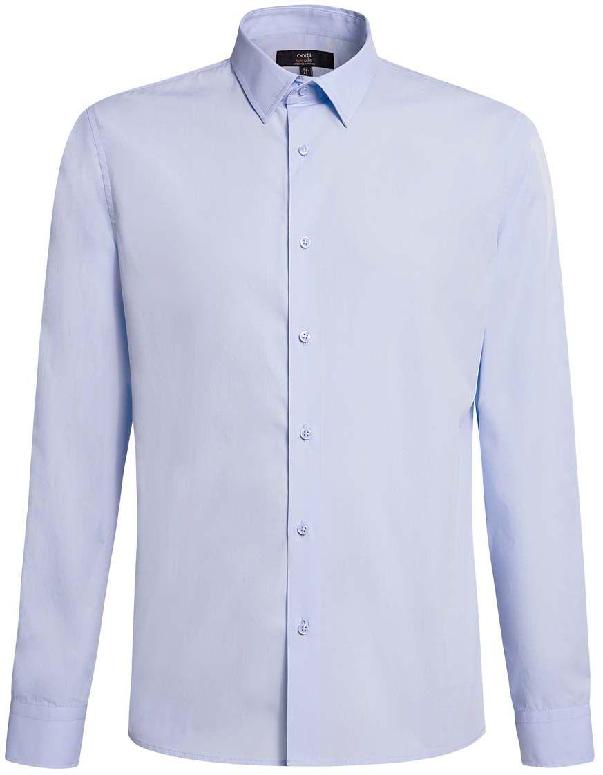 Рубашка мужская oodji Basic, цвет: голубой. 3B110005M/23286N/7000N. Размер 43-182 (54-182)3B110005M/23286N/7000NБазовая мужская рубашка полуприлегающего силуэта (slim fit) oodji Basic изготовлена из натурального хлопка, она мягкая и приятная на ощупь, не сковывает движения и позволяет коже дышать, обеспечивая наибольший комфорт. Рубашка с отложным воротником и длинными рукавами застегивается на пуговицы. Манжеты рукавов также застегиваются на пуговицы.