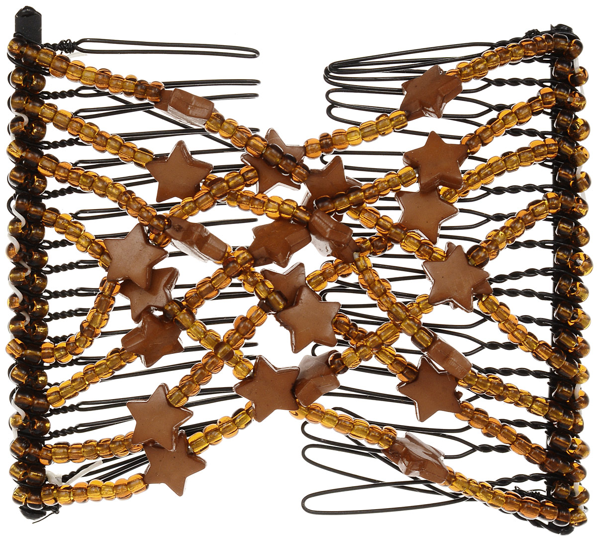 EZ-Combs Заколка Изи-Комбс, одинарная, цвет: коричневый. ЗИО_звездыЗИО_коричневый, звездыУдобная и практичная EZ-Combs подходит для любого типа волос: тонких, жестких, вьющихся или прямых, и не наносит им никакого вреда. Заколка не мешает движениям головы и не создает дискомфорта, когда вы отдыхаете или управляете автомобилем. Каждый гребень имеет по 20 зубьев для надежной фиксации заколки на волосах! И даже во время бега и интенсивных тренировок в спортзале EZ-Combs не падает; она прочно фиксирует прическу, сохраняя укладку в первозданном виде.Небольшая и легкая заколка для волос EZ-Combs поместится в любой дамской сумочке, позволяя быстро и без особых усилий создавать неповторимые прически там, где вам это удобно. Гребень прекрасно сочетается с любой одеждой: будь это классический или спортивный стиль, завершая гармоничный облик современной леди. И неважно, какой образ жизни вы ведете, если у вас есть EZ-Combs, вы всегда будете выглядеть потрясающе.