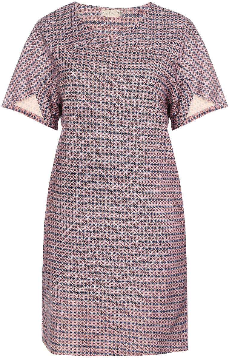 Платье домашнее Marusя Орнамент, цвет: розовый, синий, белый. 160068. Размер XXXXL (56)160068Домашнее платье Marusя Орнамент выполнено из натурального хлопка. Модель свободного кроя и средней длины с цельнокроеными короткими рукавами имеет круглый вырез горловины. Платье оформлено мелким цветочным принтом.