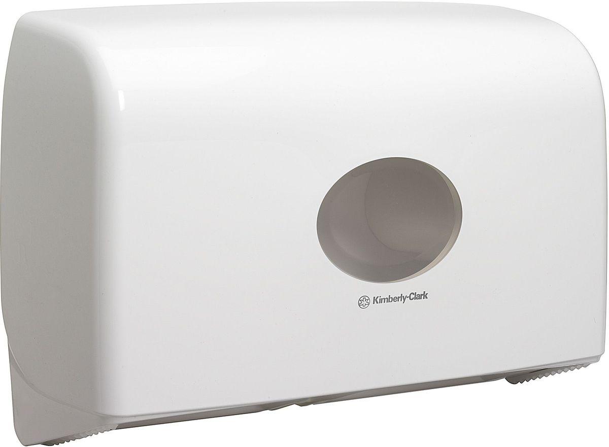 Диспенсер для туалетной бумаги Aquarius Jumbo, для двух больших рулонов, цвет: белый. 69476947Ассортимент диспенсеров для рулонной туалетной бумаги, которые выполнены в одном стиле с диспенсерами для мыла и для полотенец для рук. Диспенсеры мотивируют сотрудников соблюдать гигиенические нормы, повышают уровень комфорта, демонстрируют заботу о персонале и помогают сократить расходы. Идеальное решение, обеспечивающее подачу рулонной туалетной бумаги из элегантного диспенсера в туалетных комнатах с высокой проходимостью, легкая загрузка, практичное, гигиеничное и экономичное решение.Формат поставки: диспенсер современного дизайна, обтекаемой формы, обеспечивающий быструю заправку; белое глянцевое, легко очищаемое покрытие; отсутствие мест скопления пыли и грязи; смотровое окно для контроля за расходными материалами; возможность выбора цветовых вставок в соответствие с интерьером конкретных туалетных комнат. Замена диспенсера 6986. Совместим с туалетной бумагой: 8512.
