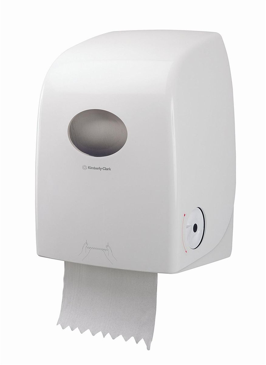 Диспенсер для бумажных полотенец Aquarius Scott Max, рулон, цвет: белый, длина 25 см. 69896989Ассортимент диспенсеров для рулонных бумажных полотенец из скоординированной линейки диспенсеров для туалетных комнат. Диспенсеры мотивируют сотрудников соблюдать гигиенические нормы, повышают уровень комфорта, демонстрируют заботу о персонале и помогают сократить расходы. Идеальное решение, обеспечивающее подачу по одному листу без касания диспенсера, снижение риска перекрестного загрязнения и предотвращение распространения бактерий. Диспенсер позволяет загружать одновременно новый рулон, а также остаток предыдущего с небольшим количеством бумаги. Таким образом обеспечивается максимальная экономия расходного материла. Укороченная длина отрыва до 25 см. Совместимы с полотенцами: 6691, 6692.Формат поставки: диспенсер современного дизайна, обтекаемой формы, обеспечивающий быструю заправку; белоное глянцевое, легко очищаемое покрытие; отсутствие мест скопления пыли и грязи; смотровое окно для контроля за расходными материалами; возможность выбора цветовых вставок в соответствие с интерьером конкретных туалетных комнат.