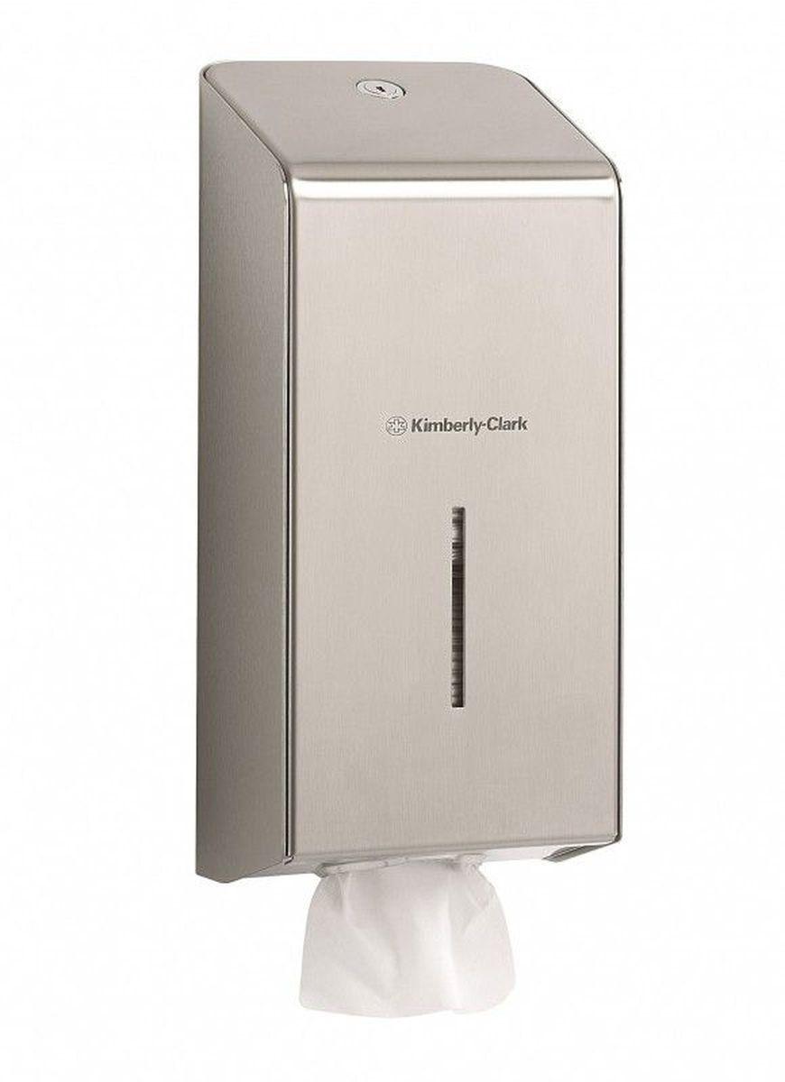 Диспенсер Kimberly-Clark Professional, для сложенной туалетной бумаги. 89728972Ассортимент профессиональных диспенсеров для сложенной туалетной бумаги из премиальной линейки металлических диспенсеров для туалетных комнат Kimberly-Clark Professional. Диспенсеры мотивируют сотрудников соблюдать гигиенические нормы, повышают уровень комфорта, демонстрируют заботу о персонале и помогают сократить расходы. Идеальное решение, обеспечивающее подачу сложенной туалетной бумаги по одному листу без прикосновения к диспенсеру или следующему листу в туалетных комнатах офисов и гостиниц с высокими требованиями к интерьеру. Помогает снизить риск перекрестного загрязнения и предотвратить распространение бактерий. Диспенсер имеет окно для контроля за остатком расходного материала, выполнен из 2мм нержавеющей стали с обработанными краями для большей безопасности при заправке расходных материалов. Может запираться на ключ.Формат поставки: элегантный диспенсер; надежное крепление, корпус выполнен из нержавеющей стали. Совместим с туалетной бумагой: 8035, 8036, 8408, 8409, 8508, 8109.