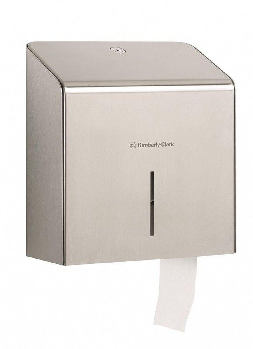 Диспенсер для туалетной бумаги Kimberly-Clark Professional. Jumbo, большой рулон. 89748974Ассортимент профессиональных диспенсеров для рулонной туалетной бумаги, которые выполнены в одном стиле с диспенсерами для мыла и для полотенец для рук Kimberly-Clark Professional. Диспенсеры мотивируют сотрудников соблюдать гигиенические нормы, повышают уровень комфорта, демонстрируют заботу о персонале и помогают сократить расходы. Идеальное решение, обеспечивающее подачу туалетной бумаги в рулонах Jumbo без прикосновения к диспенсеру в туалетных комнатах офисов и гостиниц с высокой проходимостью при высоких требованиях к внешнему виду. Помогает снизить риск перекрестного загрязнения и предотвратить распространение бактерий, обеспечивает экономию средств, отличается большой вместимостью и простотой обслуживания.Формат поставки: элегантный диспенсер; надежное крепление, корпус выполнен из нержавеющей стали. Совместим с туалетной бумагой KLEENEX 8512.