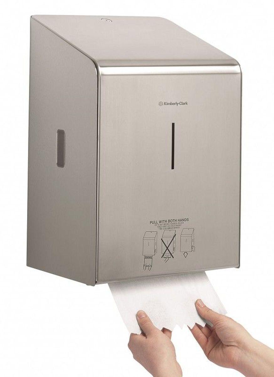 Диспенсер для бумажных полотенец Kimberly-Clark Professional, рулон. 89768976Ассортимент диспенсеров для рулонных бумажных полотенец для рук с выдачей по одному листу из премиальной линейки металлических диспенсеров для туалетных комнат Kimberly-Clark Professional. Диспенсеры мотивируют сотрудников соблюдать гигиенические нормы, повышают уровень комфорта, демонстрируют заботу о персонале и помогают сократить расходы. Идеальное решение, обеспечивающее подачу по одному листу полотенец для рук с зигзагообразным срезом, добавляет элемент роскоши в интерьер туалетных комнат, может использоваться в туалетных комнатах офисов и гостиниц с высокими требованиями к интерьеру, обеспечивает экономию средств и отличается простотой обслуживания.Диспенсер имеет окно для контроля за остатком расходного материала, выполнен из 2мм нержавеющей стали с обработанными краями для большей безопасности при заправке расходных материалов. Может запираться на ключ. Длина листа - 30 см.Формат поставки: элегантный диспенсер; надежное крепление, корпус выполнен из нержавеющей стали.