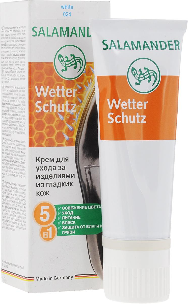 Крем для обуви Salamander Wetter Schutz, цвет: белый (024), 75 мл665674Крем для обуви Salamander Wetter Schutz с натуральным пчелиным воском предназначен для ухода за гладкой кожей. Обновляет цвет, интенсивно питает, сохраняет кожу мягкой и эластичной, придает блеск, а также обладает водоотталкивающими свойствами. Состав: воски, силикон, фторкарбоновые смолы, эмульгатор, ланолин, загуститель, консерванты, парфюм, красители, вода.