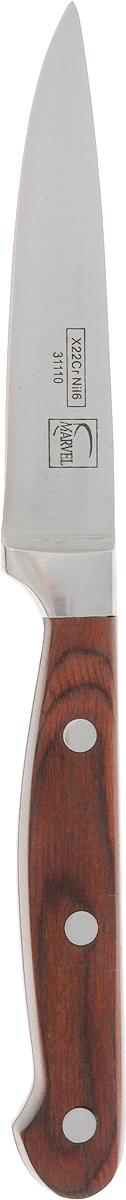 Нож для чистки овощей Marvel PROFESSION KNIVES SERIES, длина лезвия 10 см31110Нож Marvel PROFESSION KNIVES SERIES изготовлен из высококачественной нержавеющей стали. Такой нож отлично подходит для чистки овощей. Он очень легкий и абсолютно не ржавеет. Эргономичная рукоятка ножа выполнена из дерева. Нож Marvel PROFESSION KNIVES SERIES предоставит вам все необходимые возможности в успешном приготовлении пищи. Длина лезвия: 10 см.Общая длина ножа: 21,5 см.