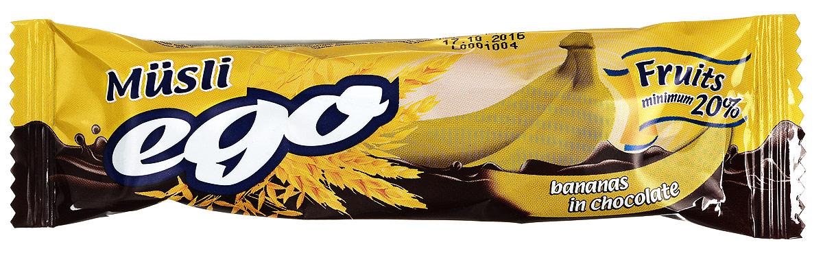 Ego Батончик мюсли со вкусом Банан в шоколаде, 25 г4607061252490Батончики мюсли Ego - это новое поколение диетических продуктов, концентрированный набор крупноволокнистой пищи, витаминов и микроэлементов. Они изготавливаются из пшеничных и овсяных хлопьев, экструдированной кукурузы и риса, различных фруктов, семян подсолнечника, орехов и мальтозного сиропа. Прекрасно подходят для диетического питания.