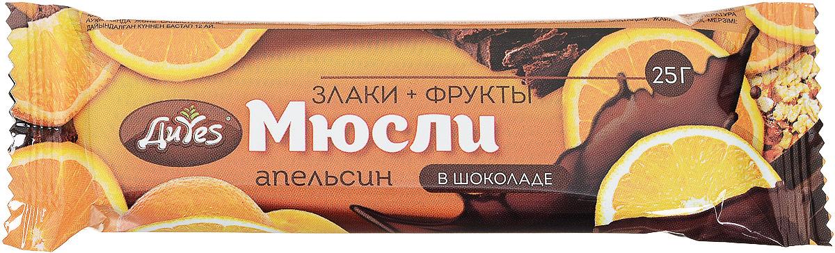 ДиYes Батончик мюсли Апельсин в шоколаде, 25 г