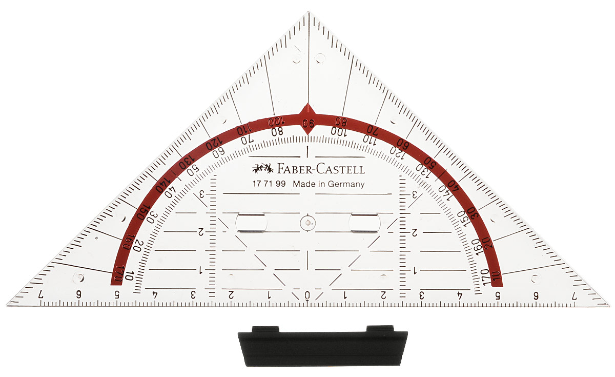 Faber-Castell Многофункциональный треугольник Комби со съемным держателем177199Многофункциональный треугольник Faber-Castell Комби может быть использован как треугольник, линейка и транспортир. Треугольник изготовлен из прозрачного и прочного пластика. В комплект входит съемный пластиковый держатель.