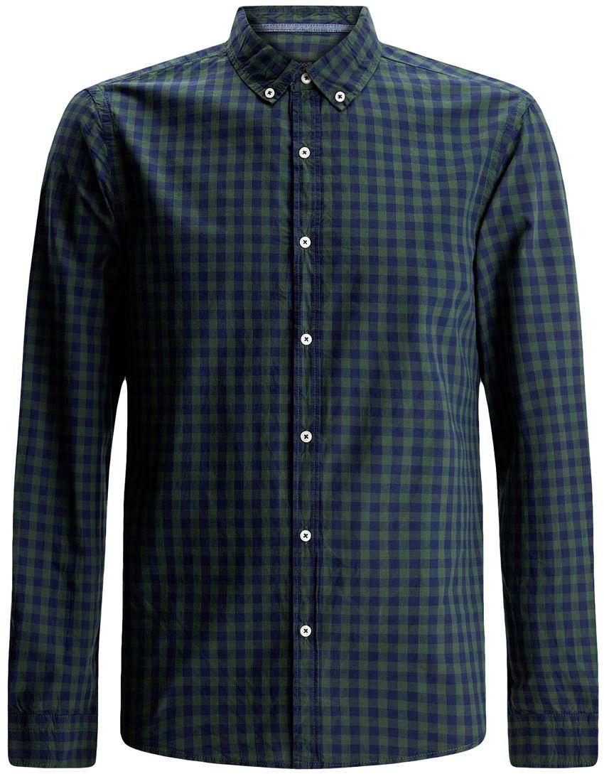 Рубашка мужская oodji Lab, цвет: темно-синий, зеленый клетка. 3L310131M/39511N/7962C. Размер XL-182 (56-182)3L310131M/39511N/7962CРубашка oodji Lab полностью выполнена из хлопка. Модель с отложным воротником и длинными рукавами застегивается по всей длине на пуговицы. Рукава, дополненные манжетами с пуговицами, подворачиваются и фиксируются. Рубашка оформлена принтом в клетку.