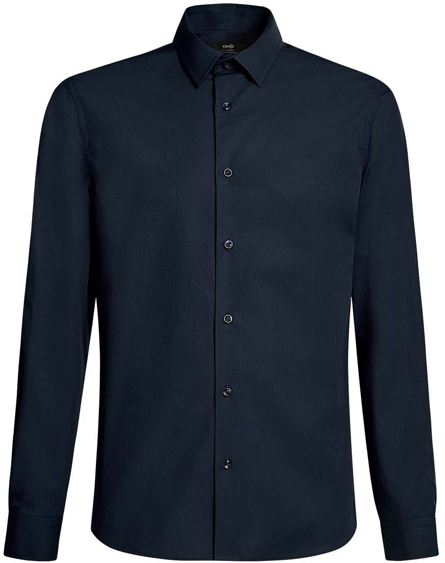 Рубашка мужская oodji Basic, цвет: темно-синий. 3B110005M/23286N/7900N. Размер 37-182 (42-182)3B110005M/23286N/7900NБазовая мужская рубашка полуприлегающего силуэта (slim fit) oodji Basic изготовлена из натурального хлопка, она мягкая и приятная на ощупь, не сковывает движения и позволяет коже дышать, обеспечивая наибольший комфорт. Рубашка с отложным воротником и длинными рукавами застегивается на пуговицы. Манжеты рукавов также застегиваются на пуговицы.