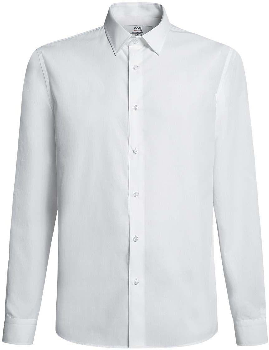 Рубашка мужская oodji Basic, цвет: белый. 3B110005M/23286N/1000N. Размер 40-182 (48-182)3B110005M/23286N/1000NБазовая мужская рубашка полуприлегающего силуэта (slim fit) oodji Basic изготовлена из натурального хлопка, она мягкая и приятная на ощупь, не сковывает движения и позволяет коже дышать, обеспечивая наибольший комфорт. Рубашка с отложным воротником и длинными рукавами застегивается на пуговицы. Манжеты рукавов также застегиваются на пуговицы.