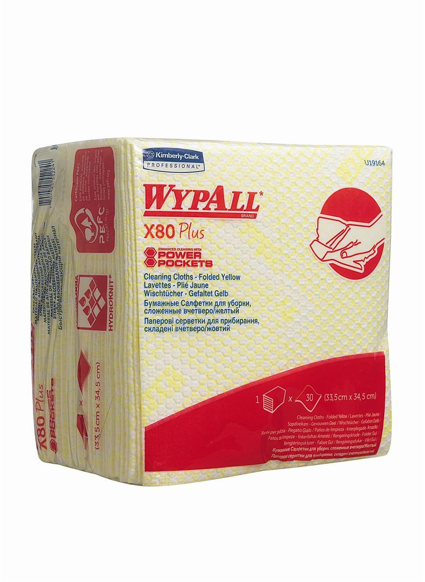 Салфетки для уборки Wypall Х80 Plus, цвет: желтый, белый, 30 шт салфетки plus long 24шт
