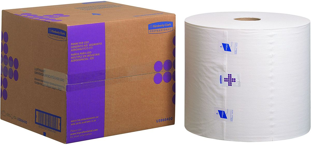 Салфетки Kimberly-Clark Professional, 900 шт. 3866438664Протирочный материал Kimberly-Clark Professional выполнен ввиде салфеток и предназначен специально дляаэрокосмической отрасли, а также рекомендован киспользованию в таких отраслях как металлургическая,нефтеперерабатывающая, газовая промышленность иавтомобилестроение.Продукция соответствует требованиям авиапроизводителейBoeing и Airbus, нормам AMS 3819C и BMS 15-5F. Можетиспользоваться с переносными или стационарнымидиспенсерами для контроля расхода продукта и уменьшенияобъема отходов.Количество салфеток в рулоне: 900 шт.