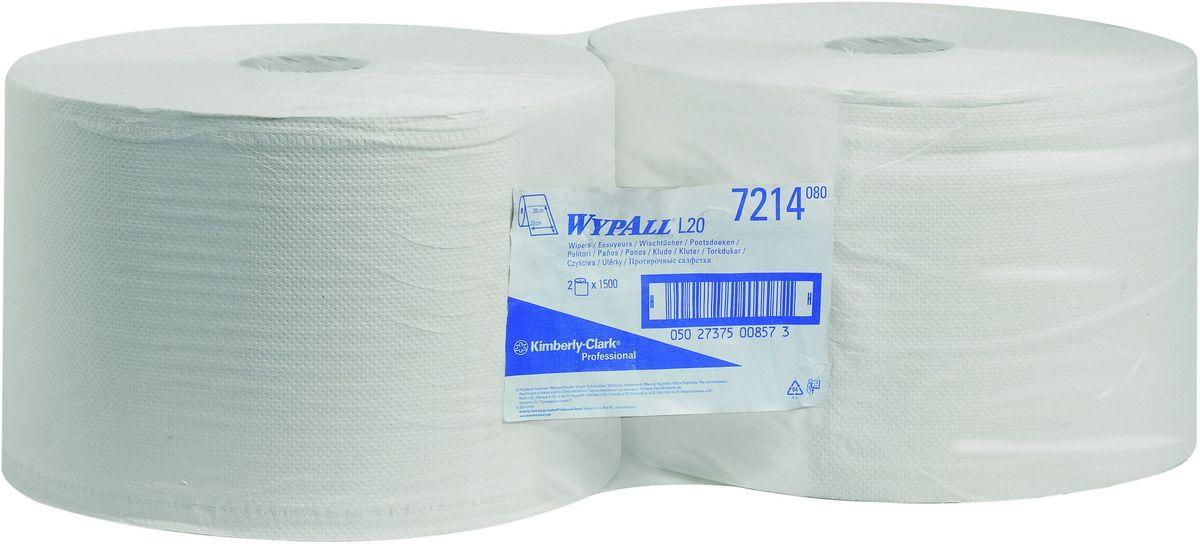 Полотенца бумажные Wypall L20, двухслойные, 2 рулона. 72147214Бумажные полотенца Wypall L20 отличаются особеннойпрочностью и быстротой впитывания жидкостей. Они идеальноподойдут для универсальных задач: сбора грязи, работы смаслом, протирки и впитывания жидкостей в пищевойпромышленности, а также в автомобильной индустрии имногих других областей. В набор входит: 2 рулона. Количество листов в рулоне: 1500 шт.