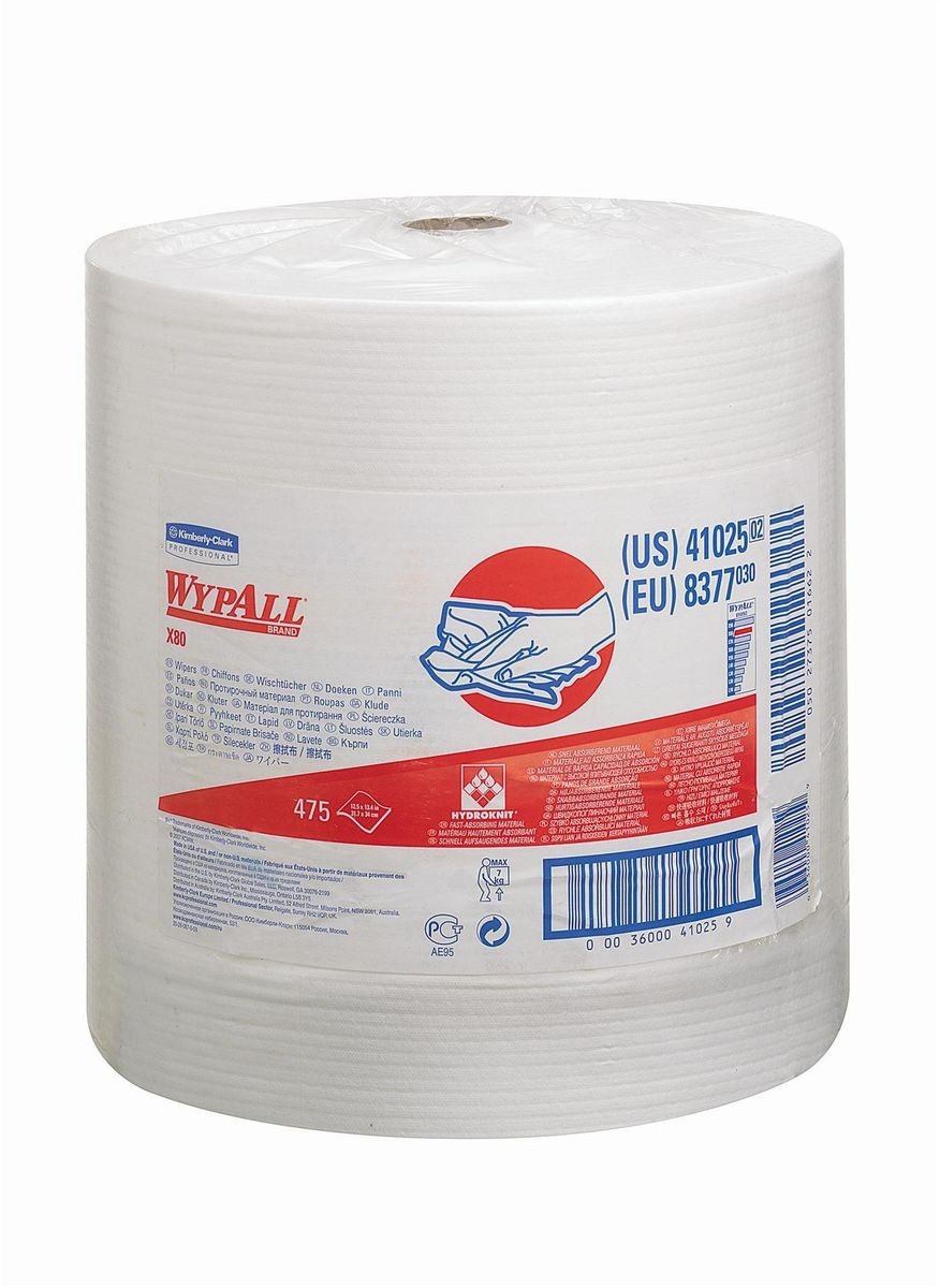 Полотенца бумажные Wypall Х80, 475 шт. 83778377Бумажные полотенца Wypall Х80 обладают отличной впитывающей способностью, долговечностью и прочностью, как в сухом, так и во влажном состоянии. Подходят для работы по очистке от клея, масла, мусора, стекол, а также для прецизионной очистки сложных механизмов и деталей. Бумажные полотенца Wypall Х80 могут использоваться с переносными или стационарными диспенсерами для контроля расхода продукта и уменьшения объема отходов.