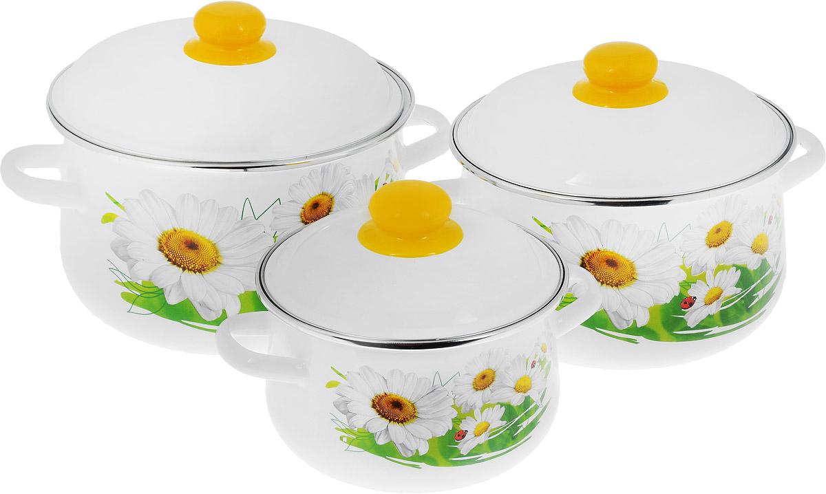 Набор кастрюль СтальЭмаль  Ромашки  с крышками, 6 предметов - Посуда для приготовления