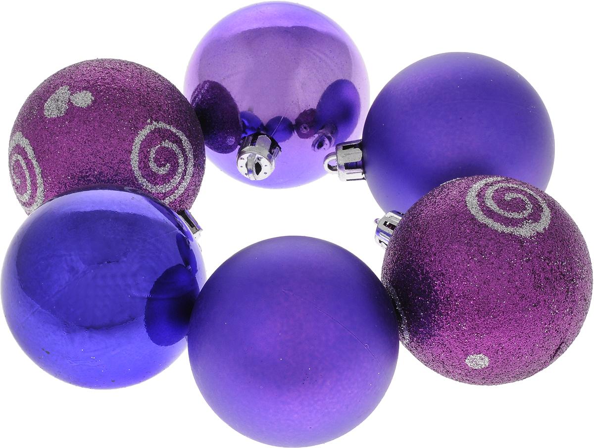 """Набор новогодних подвесных украшений """"Шар"""", цвет: фиолетовый, диаметр 6 см, 6 шт. 35521"""
