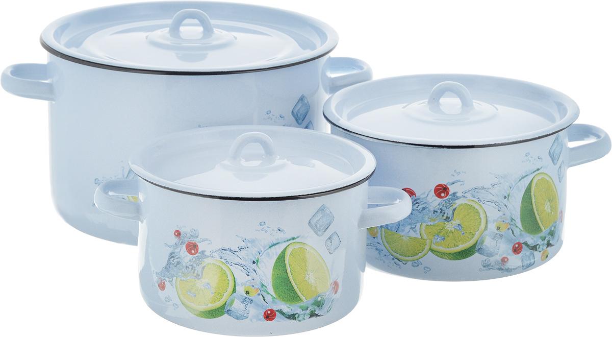 Набор кастрюль СтальЭмаль Мохито, с крышками, 6 предметов1с112/1Нарядный набор эмалированных кастрюль СтальЭмаль Мохито станет украшением вашей кухни и поможет вам готовить вкусные супы и компоты. Эмаль является тонкой стеклянной пленкой и надежно защищает ваши блюда от окисления, в посуде с таким покрытием можно хранить готовые блюда, не опасаясь за свое здоровье. Эмаль легко мыть, она устойчива к воздействию любых металлических предметов: ножей, ложек, железных лопаток, ее можно использовать для всех видов плит.Объем кастрюль: 2,9 л; 3,9 л; 7 л. Диаметр кастрюль (по верхнему краю): 19 см; 21 см; 26 см. Ширина кастрюль (с учетом ручек): 25 см; 28 см; 34 см. Высота стенки кастрюль: 12 см; 12,5 см; 16,5 см.